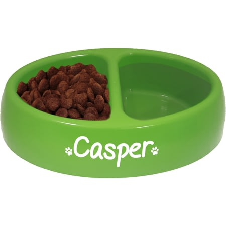 Personalised Oval Double Dog Food and Water Bowl - Green