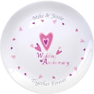 "Personalised Red Hearts Anniversary 8"" Bone China Coupe Plate"