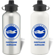 Personalised Brighton & Hove Albion FC Bold Crest Aluminium Sports Water Bottle