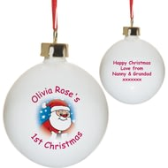 Personalised Cartoon Santa Bone China 1st Christmas Tree Bauble