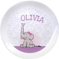 "Personalised Baby Girl Elephant 8""; Bone China Coupe Ceramic Plate"