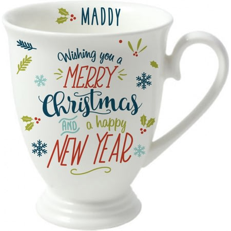 Personalised Wishing You A Merry Christmas Marquee Ceramic Mug
