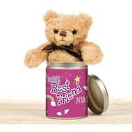 Personalised Worlds Greatest Friend - Teddy In A Tin