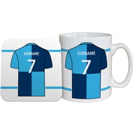 Personalised Wycombe Wanderers FC Shirt Mug & Coaster Set
