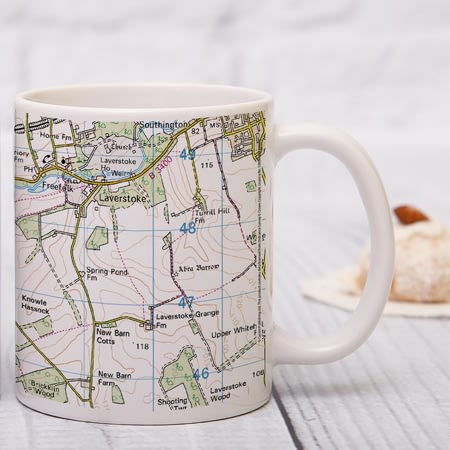 Personalised Present Day Map Of Your Postcode Ceramic Mug