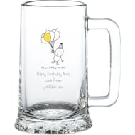 Personalised Chilli & Bubble's Birthday Glass Stern Tankard