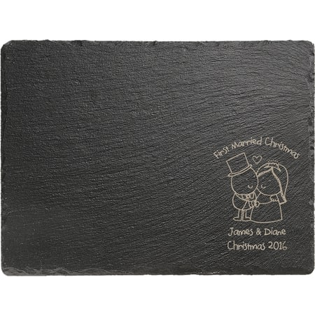 Personalised Chilli & Bubble's Married Christmas Rectangle Slate Cheese Board