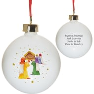 Personalised Nativity Scene Christmas Tree Ceramic Bauble