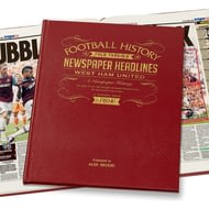 Personalised West Ham United Footaball Newspaper History Book - Leather Cover