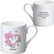 Personalised Dove & Hearts Pink Godchild Ceramic Mug