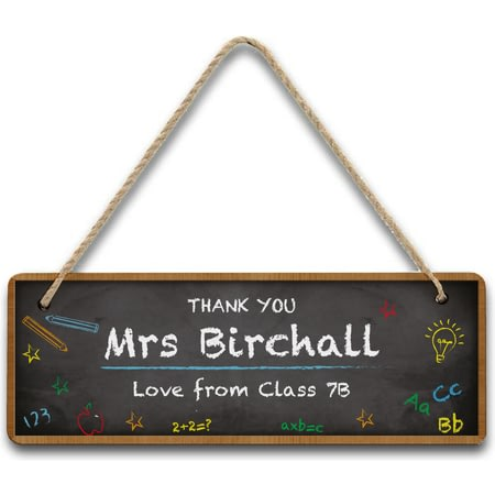 Personalised Teachers Classroom Chalkboard Hanging Wooden Sign