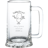 Personalised Chilli & Bubble's Christmas Pudding Glass Stern Tankard