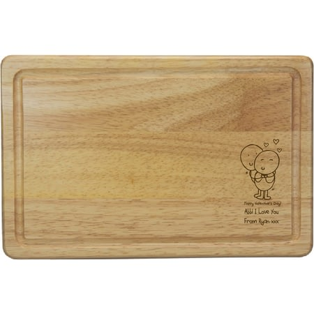 Personalised Chilli & Bubbles Valentines Rectangle Wooden Chopping Board
