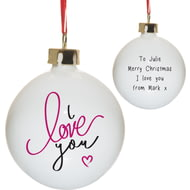 Personalised I Love You Christmas Tree Ceramic Bauble