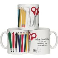 Personalised Teacher Ceramic Mug With Personalised Pencils