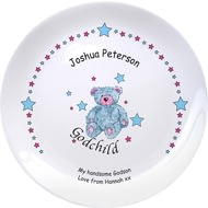 "Personalised Teddy & Stars Blue Godchild 8"" Ceramic Plate"