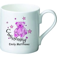 Personalised Teddy & Stars Pink Christening Ceramic Mug