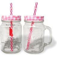 Personalised Cocktail Recipe Red Lidded Mason Jar