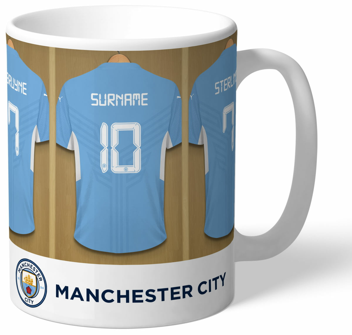132a845aa Personalised Manchester City FC Dressing Room Shirts Mug from Go Find A Gift