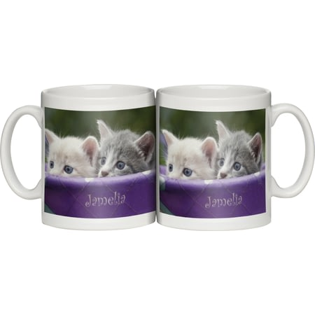 Personalised Peeking Kittens Ceramic Mug