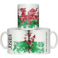 Personalised Grunge Welsh Flag Ceramic Mug