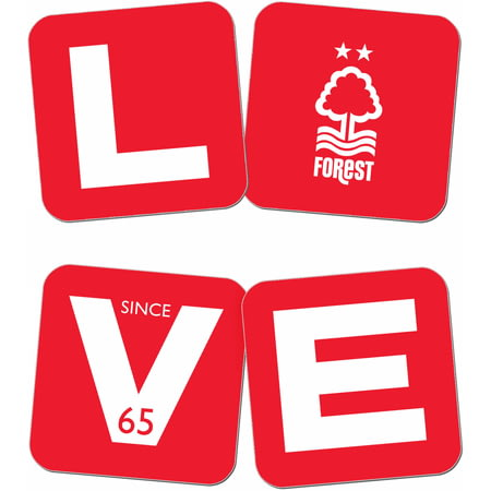 Personalised Nottingham Forest Love Coasters (x4)