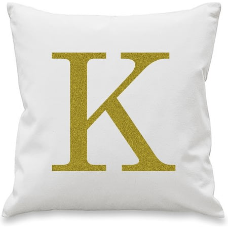 Personalised Gold Monogram Initial Cushion Cover