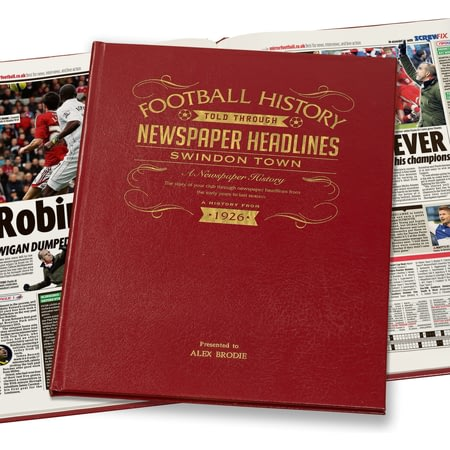 Personalised Swindon Footaball Club Newspaper History Book - Leather Cover