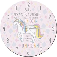 Personalised Always Be A Unicorn Glass Clock