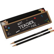 Personalised Best Teacher Chalkboard Black Pencil Box & Pencils