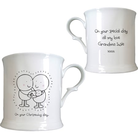 Personalised Chilli & Bubble's Christening Half Pint Tankard