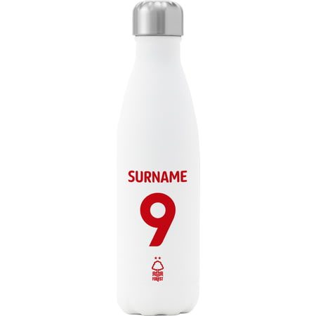 Personalised Nottingham Forest FC Back Of Shirt Insulated Water Bottle - White