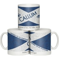 Personalised Scottish Flag Shabby Chic Ceramic Mug