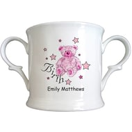 Personalised Teddy & Stars Pink Birth Bone China Loving Cup