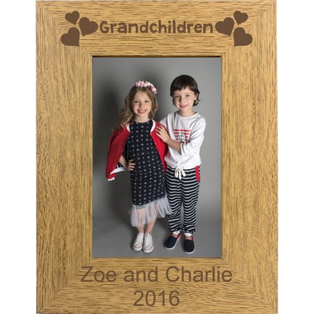 Personalised Grandchildren Portrait Wooden Photo Frame