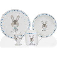 Personalised Little Bunny Blue Ceramic 4 Piece Breakfast Set