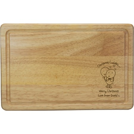 Personalised Chilli & Bubble's Christmas Cuddles Rectangle Wooden Chopping Board