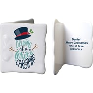 Personalised White Christmas Ceramic Message Card