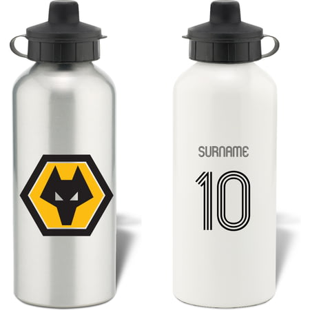 Personalised Wolves FC Retro Shirt Aluminium Sports Water Bottle