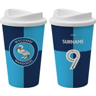 Personalised Wycombe Wanderers FC Back Of Shirt 350ml Reusable Tea / Coffee Cup