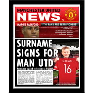 Personalised Manchester United FC Spoof Newspaper Framed Print