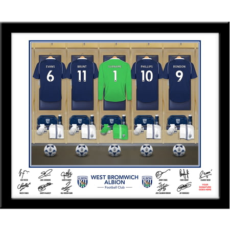 Personalised West Bromwich Albion FC Goalkeeper Dressing Room Shirts Framed Print