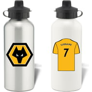 Personalised Wolves Shirt Aluminium Sports Water Bottle