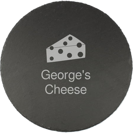 Personalised Engraved Cheese Motif Round Slate Cheeseboard