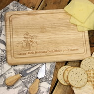 Personalised Wallace & Gromit 'Thumbs Up' Wooden Rectangle Cheese Board