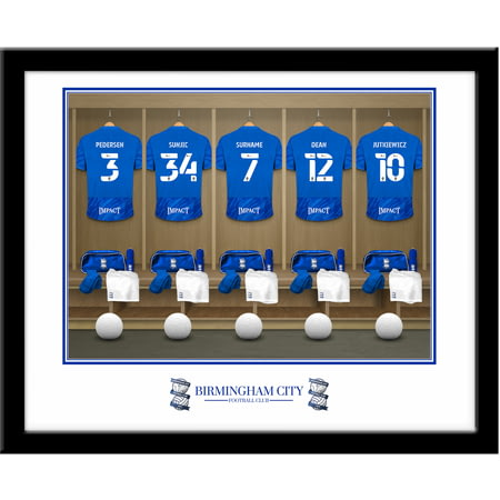 Personalised Birmingham City FC Dressing Room Shirts Framed Print