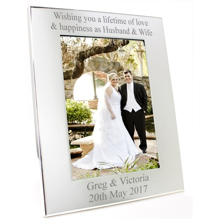 Personalised Silver Portrait Photo Frame - Any Message