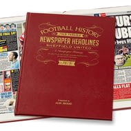 Personalised Sheffield United Football Newspaper Book - Leather Cover