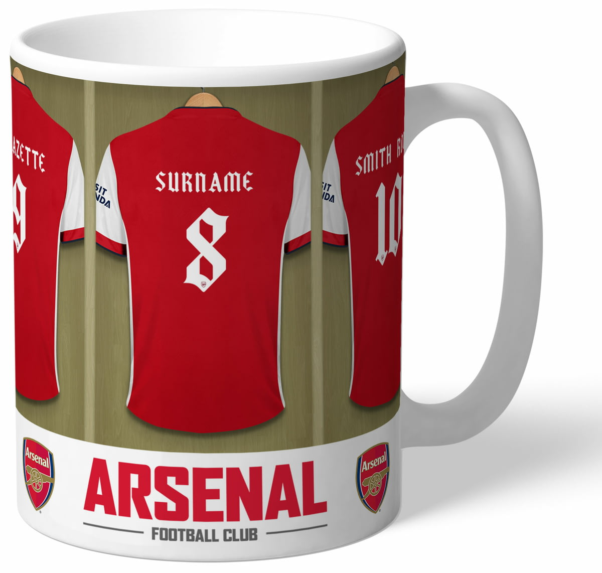 best website 13d62 ee6ef Personalised Arsenal FC Dressing Room Shirts Mug