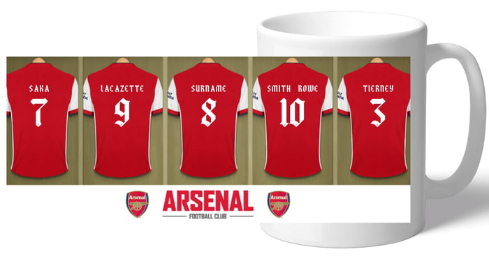 new product 6cb31 71c37 Personalised Arsenal FC Dressing Room Shirts Mug - Free ...